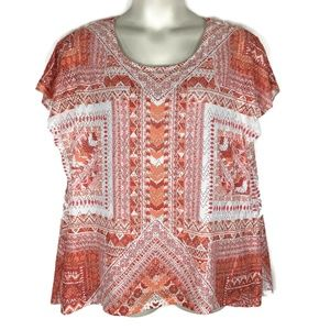 Style&co 3X Red Print 2PC High Low Top